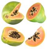 Insieme della papaia isolato su fondo bianco Fotografia Stock Libera da Diritti