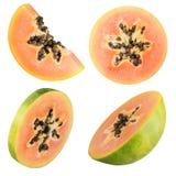 Insieme della papaia isolato su fondo bianco Immagine Stock