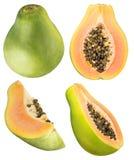Insieme della papaia isolato su fondo bianco Immagine Stock Libera da Diritti
