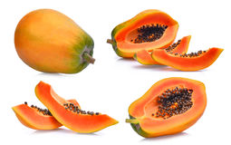 Insieme della papaia matura fresca isolata su bianco Fotografie Stock
