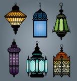 Insieme della parte 2 araba della lanterna illustrazione di stock