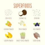Insieme della parte 2 dei superfoods Immagine Stock Libera da Diritti