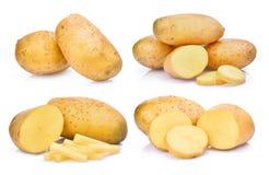 Insieme della patata fresca isolato su bianco Immagine Stock Libera da Diritti