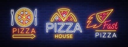 Insieme della pizza del logos, emblemi, insegne al neon accumulazione Immagine Stock Libera da Diritti