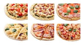 Insieme della pizza isolato Fotografia Stock Libera da Diritti