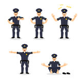 Insieme della polizia di moto Pose differenti stabilite del poliziotto Uomo exp dell'agente Fotografia Stock Libera da Diritti