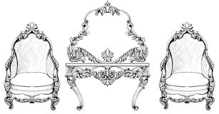 Insieme della poltrona di Rich Baroque Rococo e della tavola di condimento Il lusso francese scolpito orna la mobilia Vettore Vic Fotografia Stock