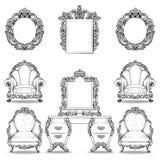 Insieme della poltrona di Rich Baroque Rococo e della tavola di condimento Il lusso francese scolpito orna la mobilia Vittoriano  illustrazione vettoriale