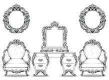 Insieme della poltrona di Rich Baroque Rococo e della tavola di condimento Il lusso francese scolpito orna la mobilia Vittoriano  royalty illustrazione gratis