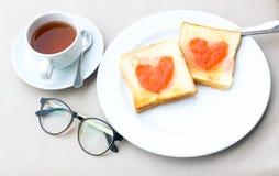 Insieme della prima colazione del caffè con pane Fotografie Stock