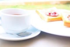 Insieme della prima colazione del caffè con pane Immagini Stock