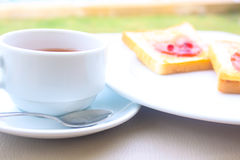 Insieme della prima colazione del caffè con pane Fotografia Stock