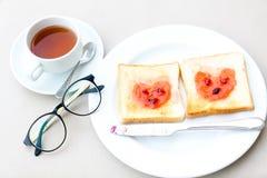 Insieme della prima colazione del caffè con pane Fotografia Stock Libera da Diritti