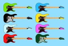 Insieme della raccolta della chitarra elettrica della roccia di colore differente Illustrazione piana di vettore di progettazione Immagini Stock
