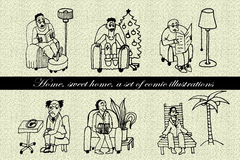 Insieme della raccolta degli uomini dei caratteri comici che si siedono in un'illustrazione comica disegnata a mano della sedia illustrazione di stock