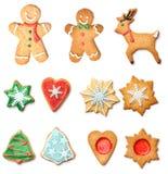 Insieme della raccolta dei biscotti del pan di zenzero di Natale Immagine Stock Libera da Diritti