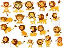Insieme della raccolta dei leoni del fumetto royalty illustrazione gratis