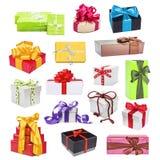 Insieme della raccolta dei regali colorati multi Immagine Stock