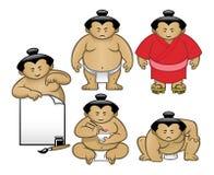 Insieme della raccolta del carattere di sumo Fotografie Stock