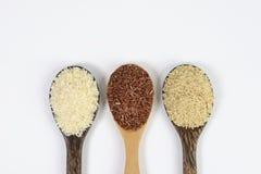 Insieme della raccolta del riso sulla siviera isolata su fondo bianco Fotografie Stock Libere da Diritti