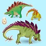 Insieme della raccolta dell'autoadesivo dei dinosauri di stegosauro Fotografia Stock Libera da Diritti
