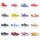 Insieme della raccolta delle scarpe da tennis delle scarpe di sport di vettore Insieme piano dell'icona di colore elegante Immagini Stock Libere da Diritti