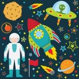 Insieme della raccolta dello spazio cosmico illustrazione vettoriale