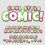 Insieme della raccolta di alfabeto Schiocco comico Art Style Lettere, numeri e figure per kids& x27; illustrazioni, libri Immagini Stock Libere da Diritti