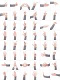 Insieme della raccolta di molti simboli differenti delle mani isolato su fondo bianco Immagine Stock