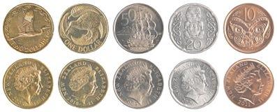 Insieme della raccolta di monete del dollaro di Nuova Zelanda Fotografia Stock