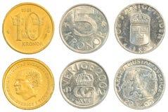 Insieme della raccolta di monete della corona svedese Fotografia Stock Libera da Diritti