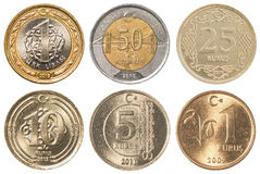 Insieme della raccolta di monete della Lira turca Fotografia Stock Libera da Diritti