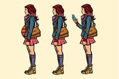 Insieme della ragazza teenager incinto e con il telefono illustrazione vettoriale