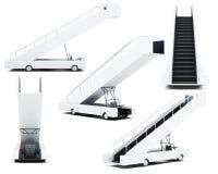 Insieme della rampa mobile di imbarco su un fondo bianco 3d Fotografia Stock