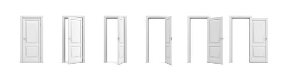 insieme della rappresentazione 3d delle porte di legno bianche nelle fasi differenti dell'apertura illustrazione vettoriale