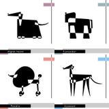Insieme della razza del cane con il levriero afgano, Azawakh, barboncino e Komondor stilizzati Illustrazione di vettore royalty illustrazione gratis