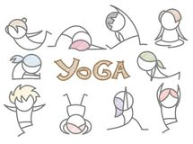 Insieme della riga arte di yoga del fumetto Fotografia Stock Libera da Diritti