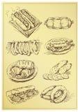 Insieme della salsiccia del disegno della mano Fotografie Stock
