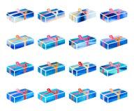 Insieme della scatola blu con un regalo per il Natale o la festa di anothrer Illustrazione di Stock