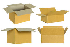 Insieme della scatola di cartone isolato su bianco Immagine Stock Libera da Diritti