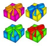 Insieme della scatola di Natale, icona del regalo, simbolo, progettazione Illustrazione di vettore isolata su priorità bassa bian Fotografia Stock Libera da Diritti