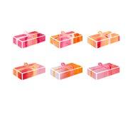 Insieme della scatola rossa con un regalo per il Natale o la festa di anothrer Royalty Illustrazione gratis