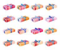 Insieme della scatola rossa con un regalo per il Natale o la festa di anothrer Illustrazione di Stock