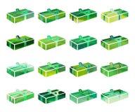 Insieme della scatola verde con un regalo per il Natale o la festa di anothrer Fotografie Stock Libere da Diritti