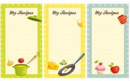 Insieme della scheda antiquata di ricetta Fotografie Stock