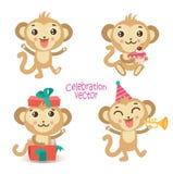 Insieme della scimmia di divertimento del ute del ¡ di Ð Animale del fumetto Raccolta di vettore di celebrazione Fotografia Stock Libera da Diritti