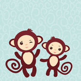 Insieme della scimmia marrone divertente su fondo blu-chiaro Immagini Stock