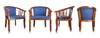 Insieme della sedia di legno blu isolata su bianco Fotografie Stock Libere da Diritti