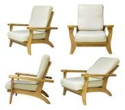 Insieme della sedia di legno isolato su bianco Immagini Stock Libere da Diritti