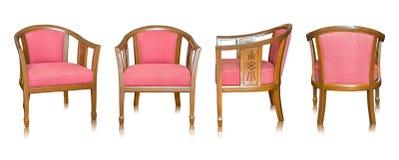 Insieme della sedia di legno rossa isolata su bianco Fotografia Stock
